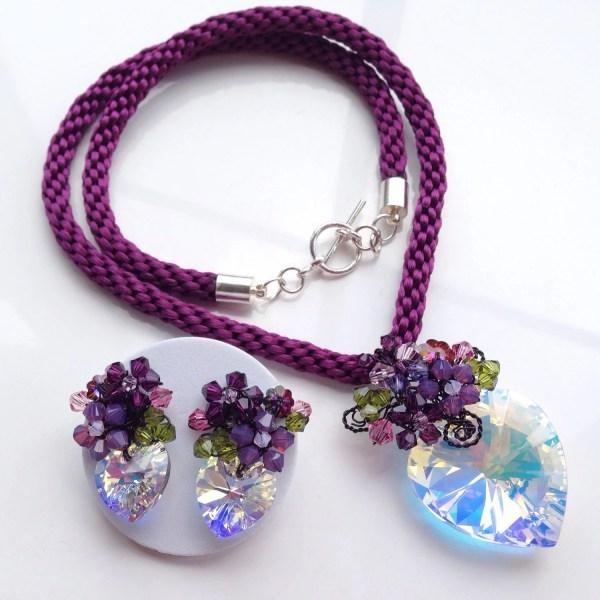 Plum Purple Crystal Jewelry Sethandmade Kumihimo And