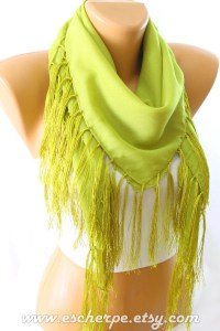 Oil Green Fringe Square Cotton Scarf Scarfs Scarves by ...
