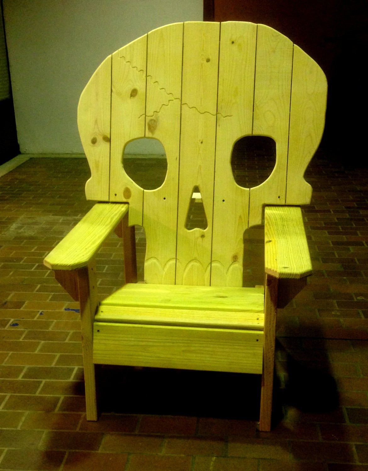 wooden skull chair staples chairs office adirondack yard furniture solid wood