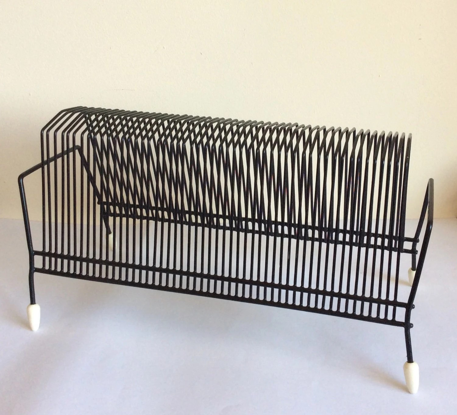 Vintage record rack vinyl LP 45 holder black 1960s atomic