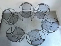 Set Of 6 Salterini Mid Century Modern Wrought Iron Patio