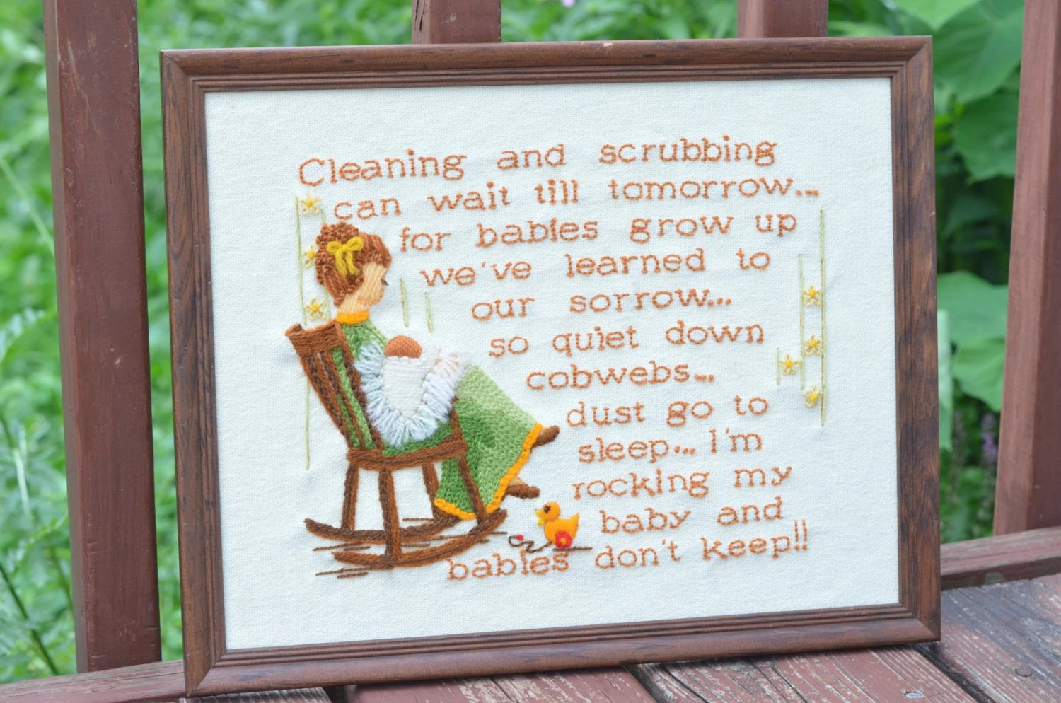 1920s rocking chair dark grey accent vintage sunset stitchery babies don't keep embroidery