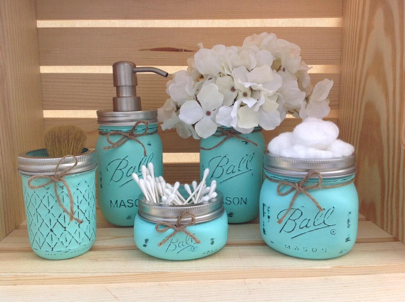 Mason Jar Bathroom Set Mason Jars Bathroom Decor Bridal by