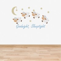 Wall Decal Nursery Goodnight Sleep Tight Counting Sheep Baby