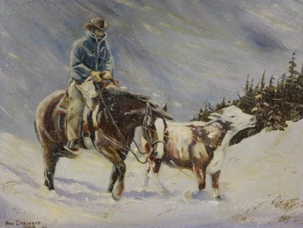 Western Artist Ron Stewart Oil Painting Pushing