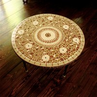 Vintage Mosaic Coffee Table Round Tile top Mid by ...