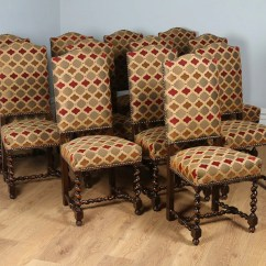 High Back Oak Dining Chairs Plans For Adirondack Rocking Chair Antique Set Of 12 French Carolean Revival Upholstered