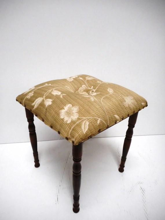 Floral Upholstered Vanity Stool by MonkeyfootJunction on Etsy