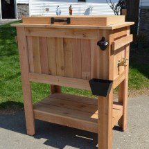 Seller Rustic Ice Chest Cooler Stand With Brass Drain