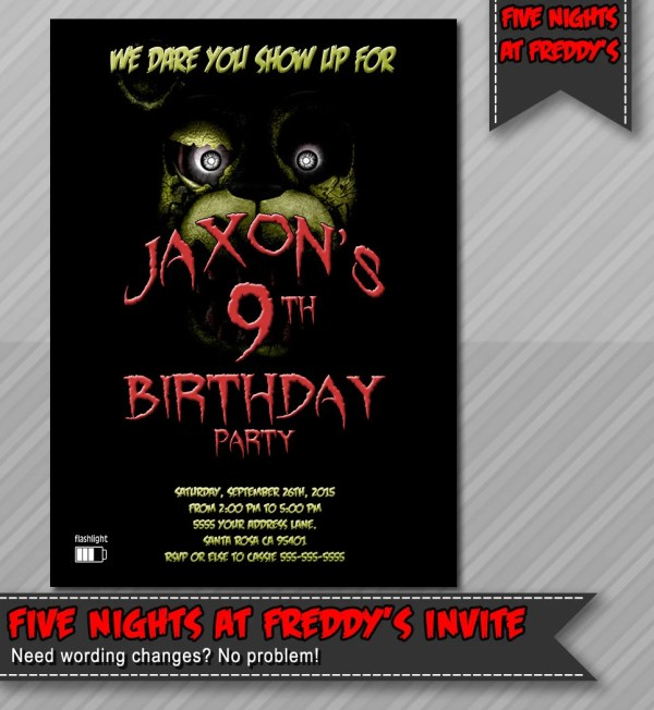 Nights Party Invitations At Five Freddy