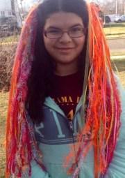 longer rainbow sherbet yarn hair