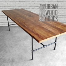 Wood Dining Table With Reclaimed Top And Iron Pipe Legs