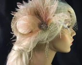 Bridal Fascinator, Feather Wedding Head Piece, Feather Fascinator, Bridal Hair Accessories, Bridal Veil Set, Ivory and Blush, Great Gatsby