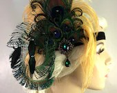 Art Deco Flapper Headband, The Great Gatsby, Downton Abbey, 1920s Headpiece, Daisy Buchanan, 1920s Flapper, Gold, Green and Black, Speakeasy