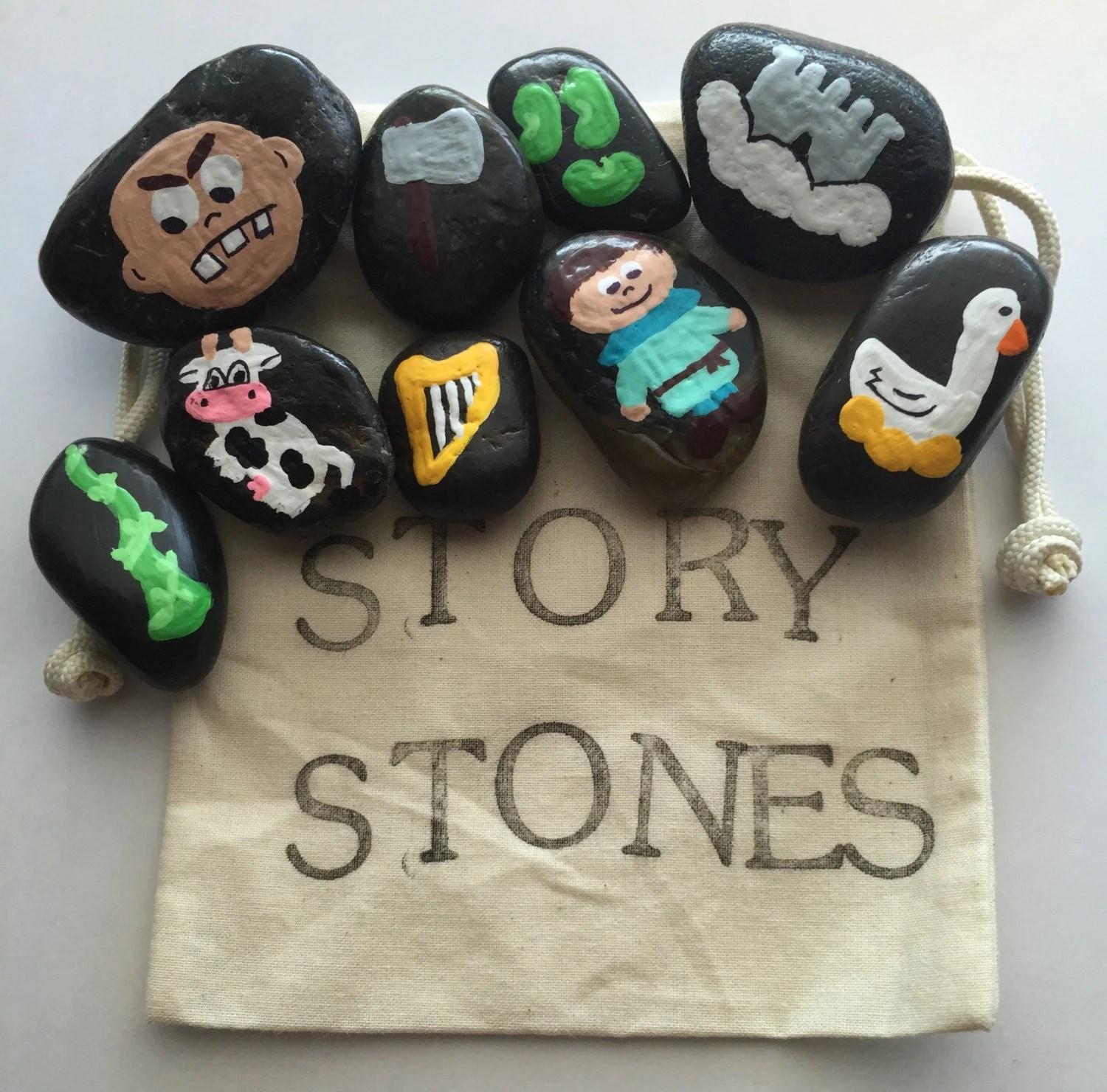 Jack And The Beanstalk Story Stones By Thewhimsywayshop On