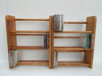 Extendable Collapsible Wood Wooden CD DVD Holder Storage