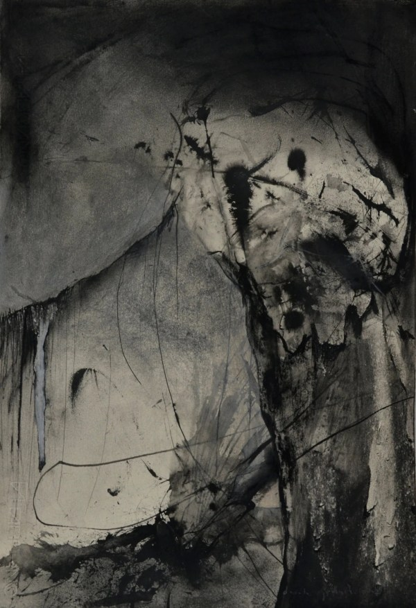 Abstract Charcoal Drawing And Ink Paper