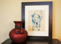 Wall Decor Art Screen Printed Linen Teal Pig by HeapsHandworks