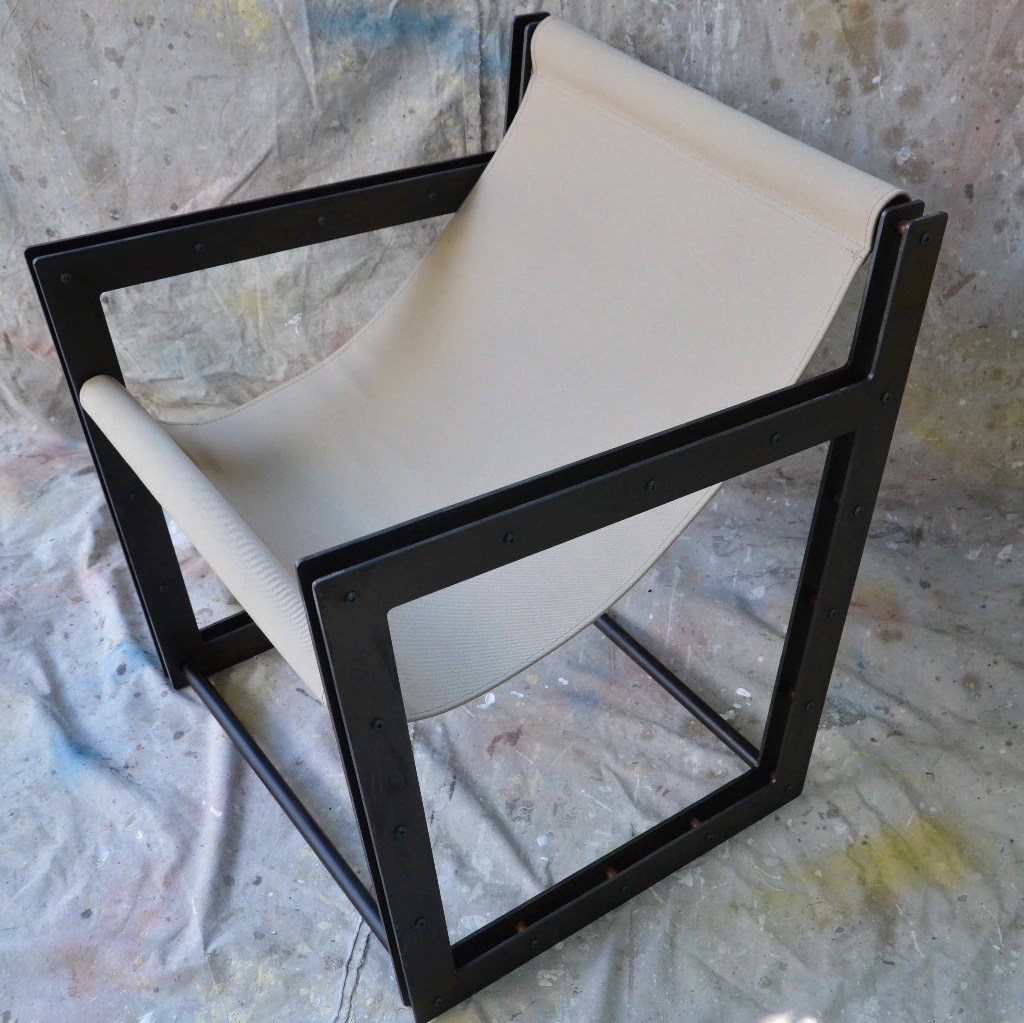 Canvas Sling Chair Industrial Furniture Sling Chair Canvas And Steel Black