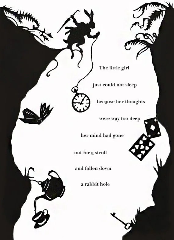 Falling Down The Rabbit Hole Wallpaper Items Similar To Down The Rabbit Hole Printable Party