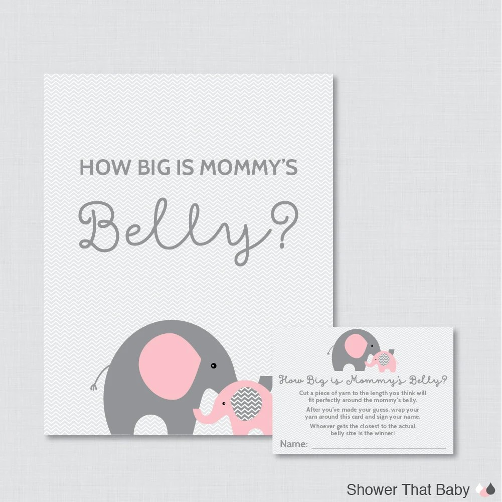 Elephant Baby Shower How Big Is Mommy's Belly Game