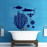 Wall Decals Coral Fish Decal Vinyl Sticker Bathroom by ...