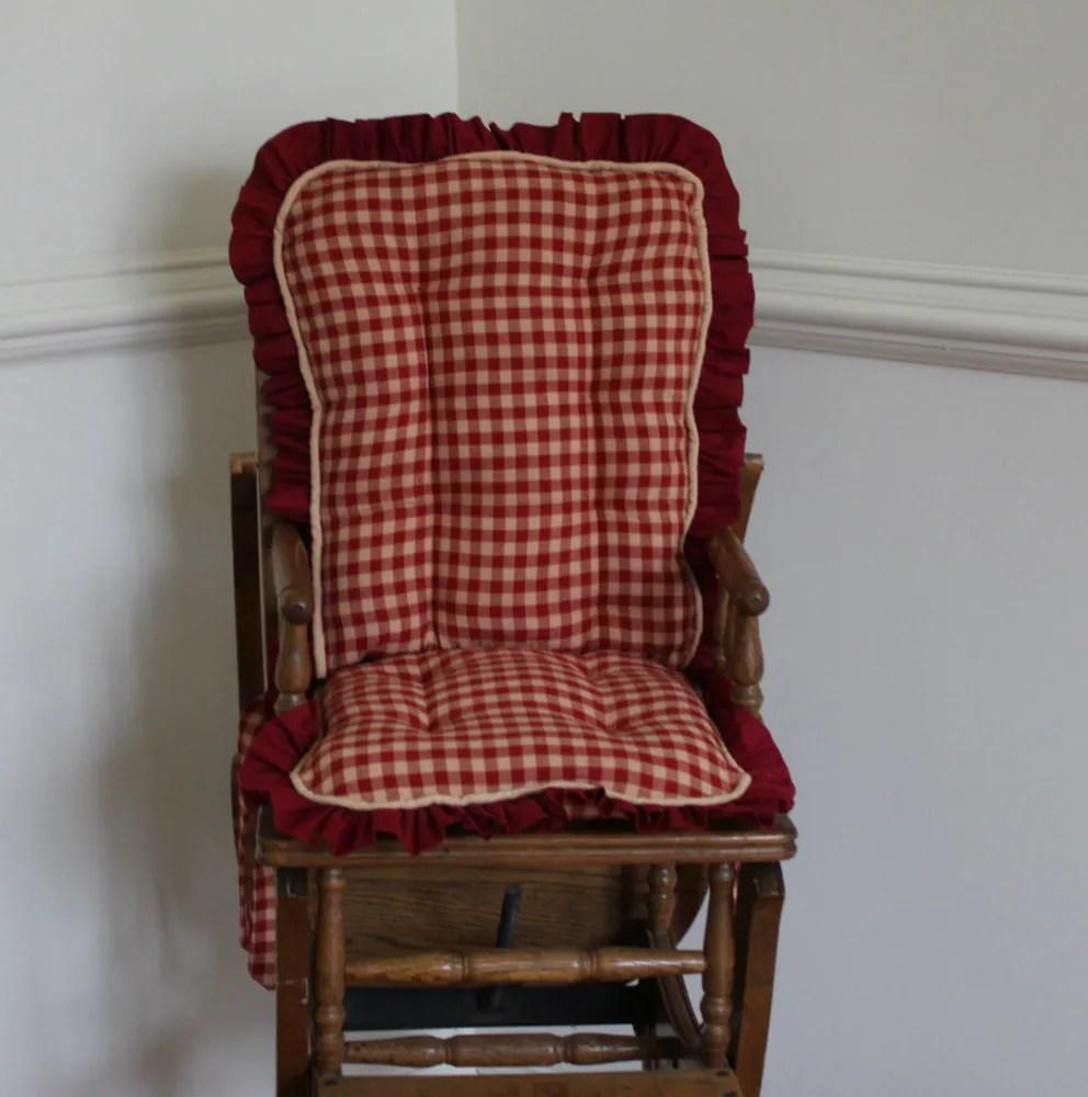 Red Homespun High Chair Cushions Wooden Highchair Cover.