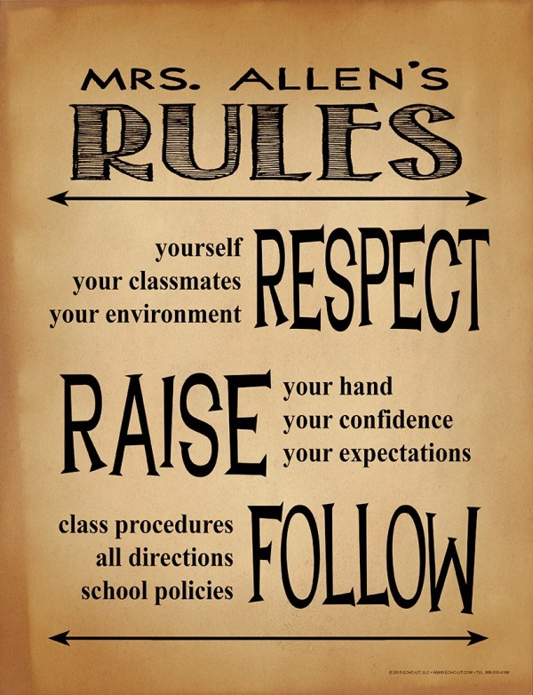 Classroom Rules Personalized Art Print. Teacher