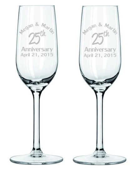 Anniversary Champagne Glasses, Etched 25th Anniversary