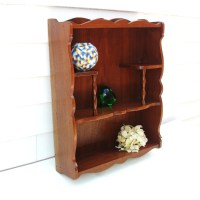 Vintage Wall Mounted Shelf Wooden Curio Display Stand Knick
