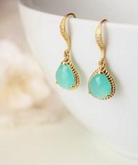Mint Green Earrings Mint Bridesmaid by DreamIslandJewellery