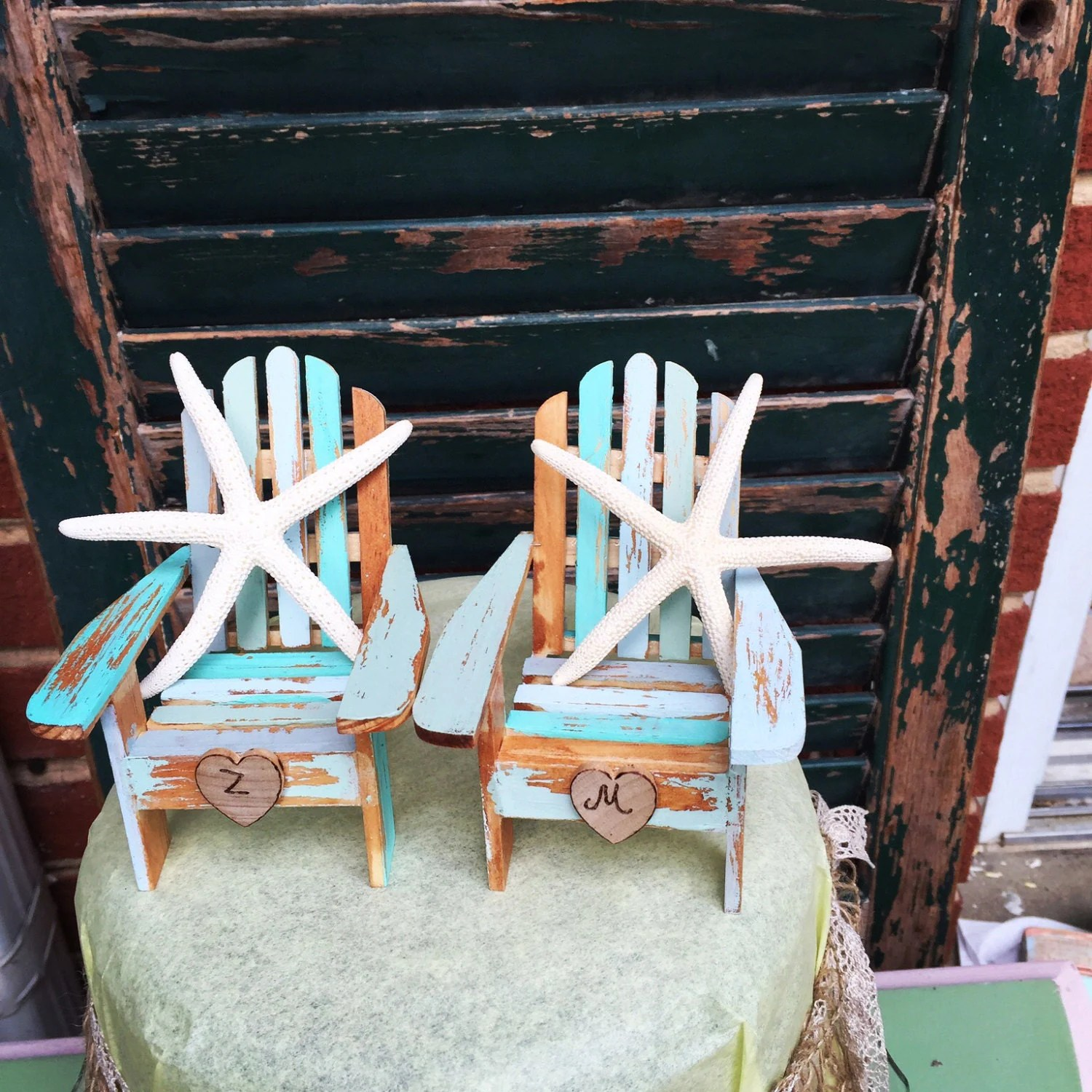 distressed adirondack chairs high back wicker chair ombre beach wedding cake topper with starfish