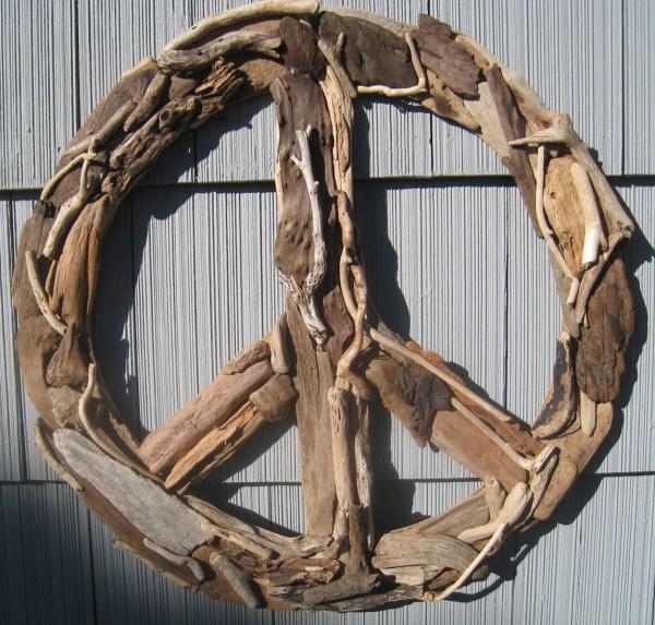 Driftwood Peace Sign 23 Beach Decor Wall
