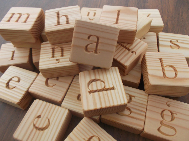 Latvian Alphabet Wooden Alphabet Blocks Lowercase Letters
