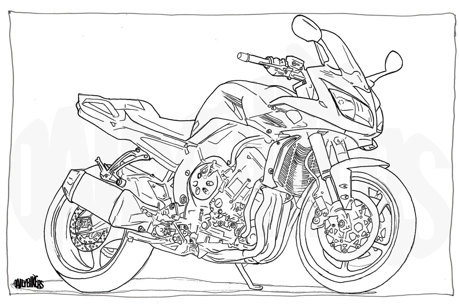 Adult Colouring Page Motorcycle Illustration Motorcycle