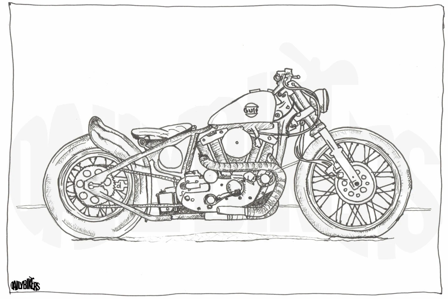 Adult Colouring Page Motorcycle Illustration by DailyBikers