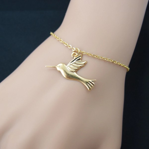 Hummingbird Bracelet Gold Bird Charm Plated Chain