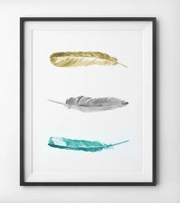 Teal Feathers Yellow and Blue Watercolor Wall Art by