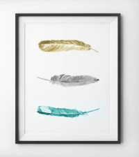 Teal Feathers Yellow and Blue Watercolor Wall Art by ...