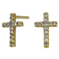 Cross Earrings Diamond Earrings 14k Yellow Gold Diamond Cross