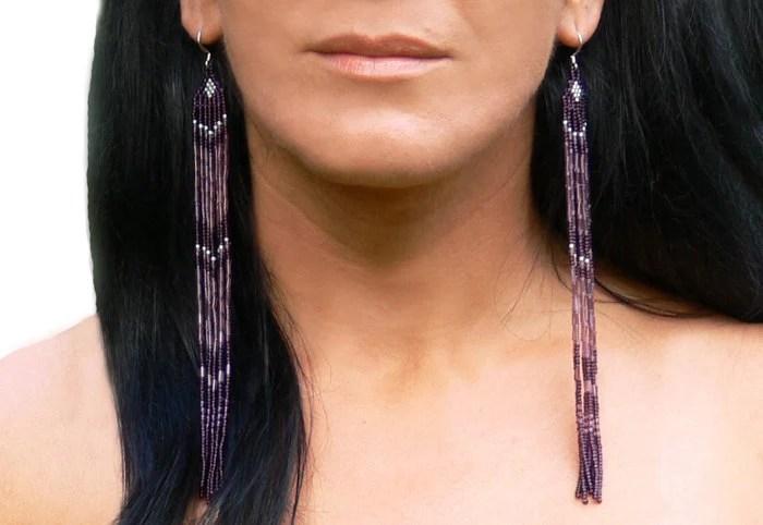 Very Long Earrings. Beaded Fringe Extra Long Earrings.