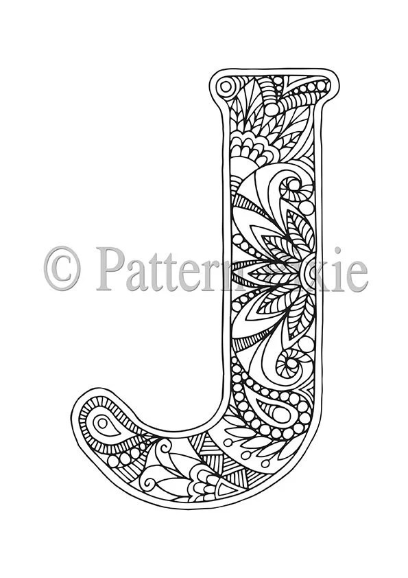 Adult Colouring Page Alphabet Letter J