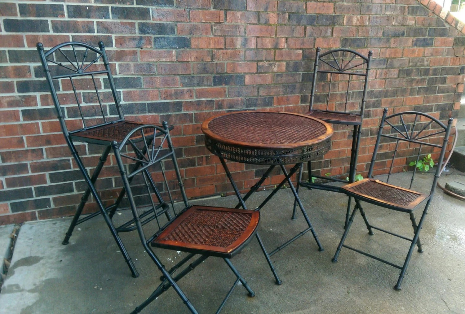 vintage wrought iron table and chairs cane back chair unique antique cast w rattan bistro patio