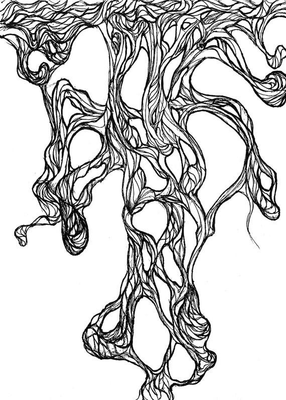 Organic Ink Drawing. Original art Fine art Print Pen