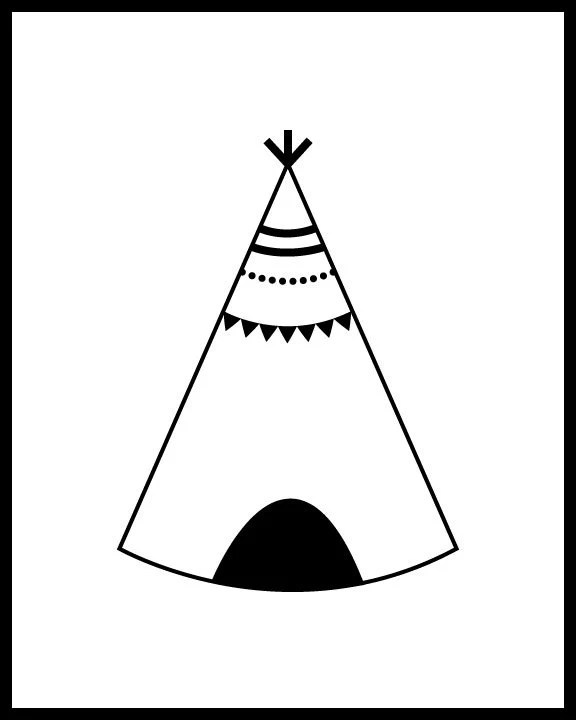 Items similar to Teepee and Arrows, Black and White Print