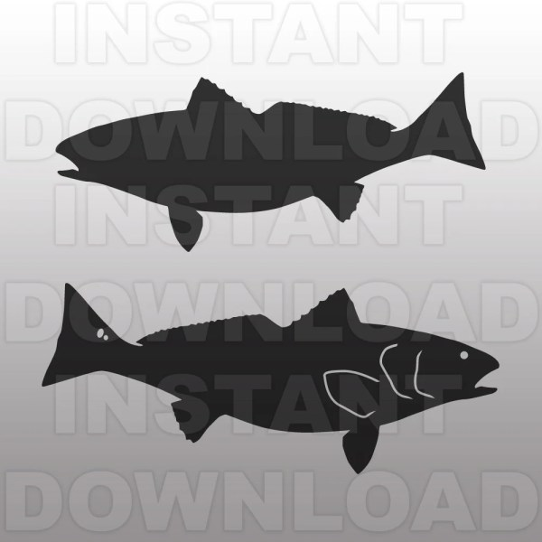 Fishing Svg Fileredfish File-cutting Template-vector Clip
