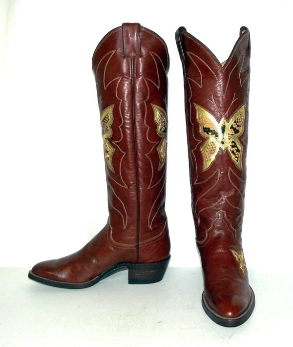Tall Vintage Womens Cowboy Boots Snakeskin Butterfly design