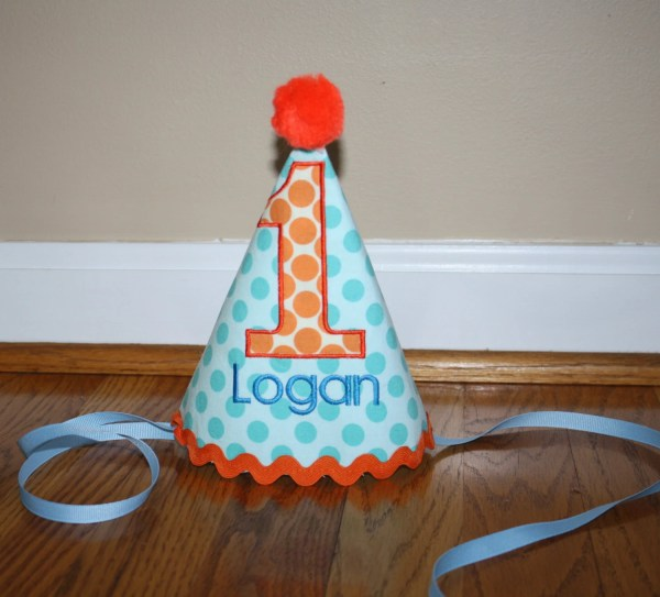 Turquoise Blue Boys Birthday Hat 1st