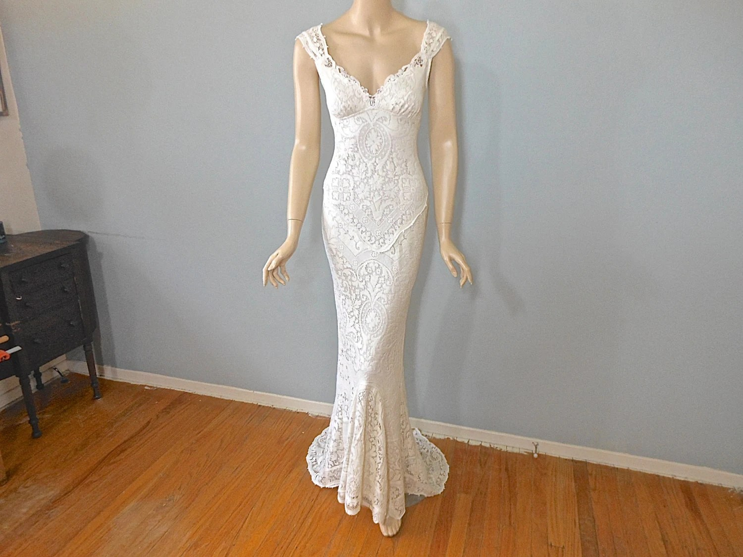 MERMAID Lace Wedding Dress Vintage Inspired Boho Wedding Dress
