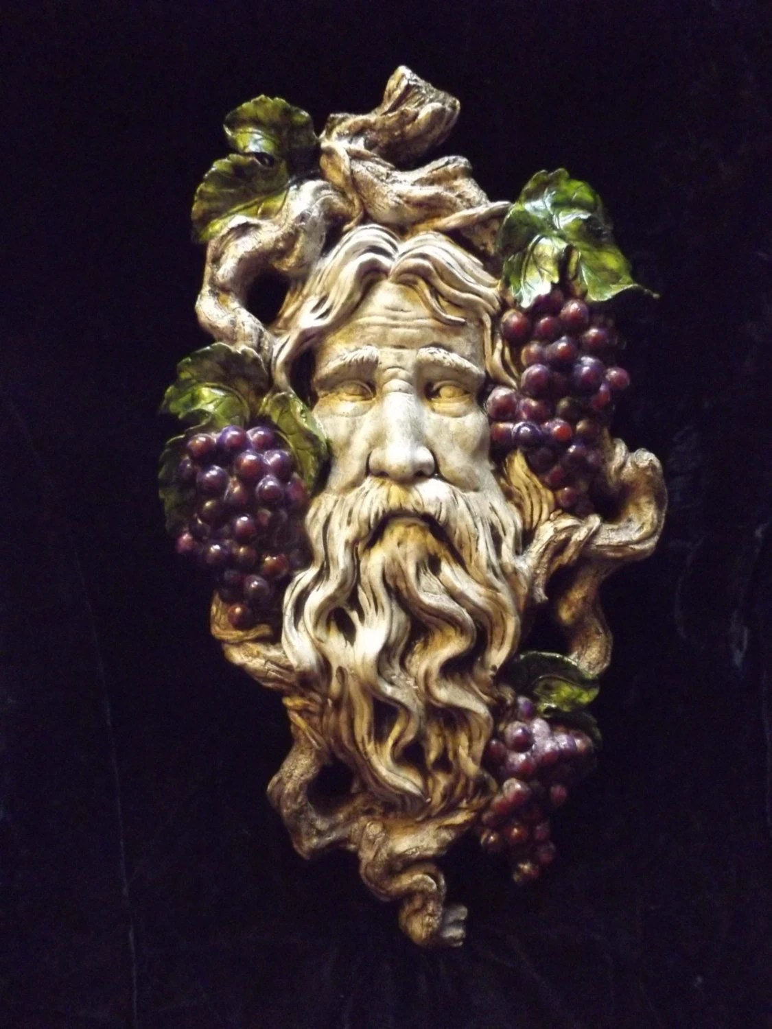 Bacchus Greenman Wall Hanging Gothic Grape Sculpture Pagan